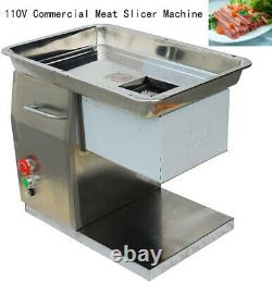 110V Commercial Stainless Steel 5mm Blade Meat Slicer Cutting Machine 250kg/h