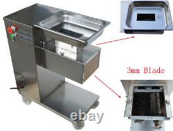 110V QE Stainless Commercial Meat Slicer with 3mm Blade Large Output US Stock