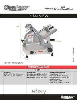 Centaur Model 212D Compact Manual Meat Slicer / 12 Blade 1/2HP 1/2 Max TESTED