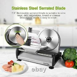 Electric Meat Slicer with Child Lock, 19cm Stainless Steel Blade & Food Carriage