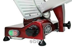 KWS Premium Commercial 320W Electric Meat Slicer 10 Red with Teflon Blade