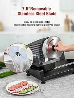 Meat Slicer 200W Food Slicer with Two 7.5 Stainless Steel Blade 0-15mm Ad