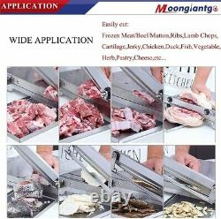 Moongiantgo Meat Slicer Manual Ribs Bone Cutter 13.5inch Double Blades 0.1-57mm