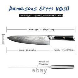 Professional 8 Damascus Steel Chef Knife Japanese VG10 Core Blade Meat Slicer