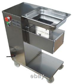 TECHTONGDA 110V Stainless Steel Commercial Meat Slicer Machine with 5mm Blade