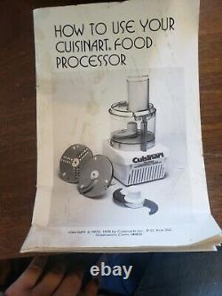 Vintage Cuisinart Food Processor CFP-9 -New Without Box Includes 7 Accessories