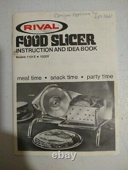 Vintage Rival Electric Food Slicer American Made Model 1101E Tested